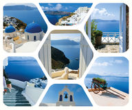 Set of summer photos in Santorini island, Greece Royalty Free Stock Image