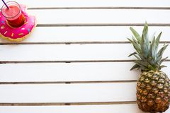 Set of summer. Pineapple and drink, top view from above Stock Images