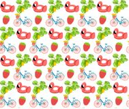 Set summer print pattern bicycle strawberry flat design summertime flat design flamingo colorful print tulips food pink pool tropi stock illustration