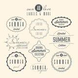 Set of summer related vintage labels. Collection of summer related vintage labels isolated Stock Images
