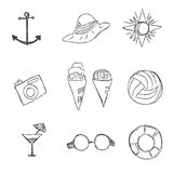 Set, summer, rest, icons, combination, Traveling, tourism Stock Photos