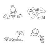 Set, summer, rest, icons, combination, Traveling, tourism Royalty Free Stock Photography