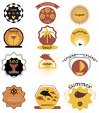 Set of summer retro  badges, ribbons and labels hipster Royalty Free Stock Images