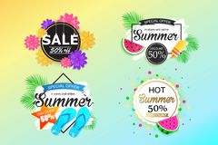 Set of summer sale background, banner, flyer, wallpaper. Royalty Free Stock Photography