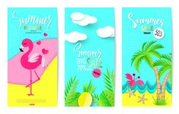 Set of summer sale banner templates with paper elements. Vector illustrations for website and mobile website banners, posters, ema stock illustration