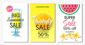 Set of summer sale banner templates. Vector illustrations for website and mobile website banners, posters, email and newsletter de. Signs, ads, coupons Royalty Free Stock Image