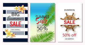 Set of summer sale banner templates. Vector illustrations for website and mobile website banners, posters, email and newsletter de. Signs, ads, coupons Royalty Free Stock Photography