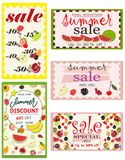 Set of summer sale banners with fruits. Vector illustration. stock illustration