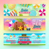 Set of summer sale banners. Stock Photos