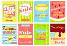 Set of summer sale discount banners Stock Photos
