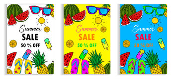 Set of Summer Sale Layout for Banner Voucher Discount.Vector. Illustration Template Art Stock Images