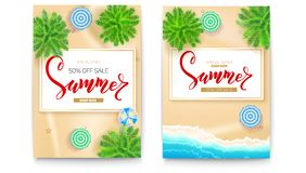 Set of summer sale posters for touristic events, travel agency actions. Summer sale banner with fifty percent discount. Tropical landscape, beach seashore Stock Photo