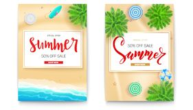 Set of summer sale posters for touristic events, travel agency actions. Get up to fifty percent discount. Summer sale. Banner. Tropical landscape, beach Stock Photography