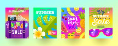 Set of summer sale promotion banners. Vacation, holidays and travel colorful bright background. Poster or newsletter design. Royalty Free Stock Images