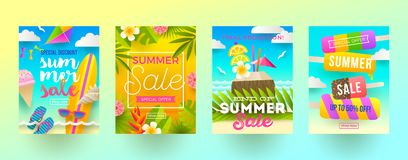 Set of summer sale promotion banners. Vacation, holidays and travel colorful bright background. Poster or newsletter design. Stock Photos