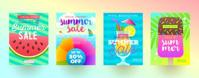Set of summer sale promotion banners. Vacation, holidays and travel colorful bright background. Poster or newsletter design. Stock Photo