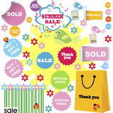 Set of summer sale, shopping stickers Royalty Free Stock Images