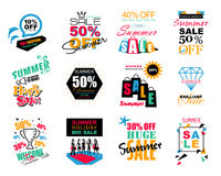 Set of Summer Sale template banners, logos, labels and stickers.  Royalty Free Stock Photography