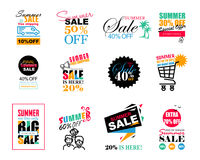 Set of Summer Sale template banners, logos, labels and stickers.  Stock Photos