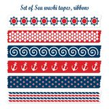 Set of summer sea washi tapes, ribbons,  elements, Royalty Free Stock Image