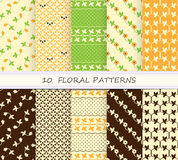 Set of summer seamless floral pattern, brown Stock Photos