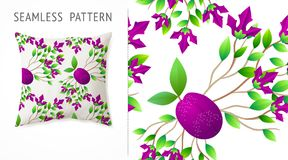 A set of summer seamless multicolor fruit and flowers patterns, demonstrated on textile pillow. Can be used for embroidery, print Stock Images