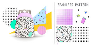 A set of summer seamless multicolor memphis patterns, demonstrated on textile backpack. Can be used for embroidery, print or silks Stock Images