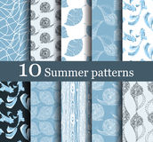 Set of 10 summer seamless patterns. Can be used for wallpaper, website background, textile printing vector illustration