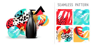 A set of summer seamless patterns, demonstrated on mockup installation with bottle. Can be used for embroidery, print or silkscree Royalty Free Stock Photo