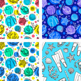 Set of summer seamless patterns. Hand drawn vector illustration Stock Images