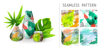 A set of summer seamless unique abstract floral patterns, demonstrated on ceramic vase. Can be used for embroidery, print or silks Stock Photo