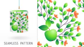 A set of summer seamless unique abstract fruit and flowers patterns, demonstrated on textile lampshades. Can be used for embroider Royalty Free Stock Images