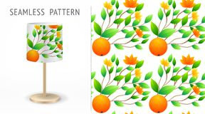 A set of summer seamless unique abstract fruit and flowers patterns, demonstrated on textile lampshades. Can be used for embroider Royalty Free Stock Photos