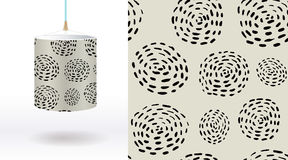 A set of summer seamless unique abstract hand-drawn patterns, demonstrated on textile lampshades. Can be used for embroidery, prin Stock Images