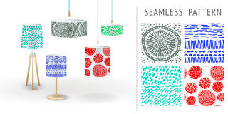 A set of summer seamless unique abstract hand-drawn patterns, demonstrated on textile lampshades. Can be used for embroidery, prin. T or silkscreen on fabric Stock Photo