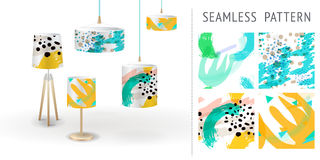 A set of summer seamless unique abstract hand-drawn patterns, demonstrated on textile lampshades. Can be used for embroidery, prin. T or silkscreen on fabric Stock Images