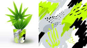 A set of summer seamless unique abstract patterns, demonstrated on ceramic pot. Can be used for embroidery, print or silkscreen on Royalty Free Stock Photography