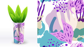 A set of summer seamless unique floral patterns, demonstrated on textile ceramic vase. Can be used for embroidery, print or silksc Stock Images