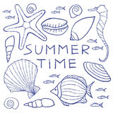 Set of  Summer Sketches Hand Drawn in Pencil. Vector illustration Stock Image