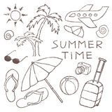 Set of  Summer Sketches Hand Drawn in Pencil. Royalty Free Stock Photography