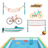Set of summer sport beach objects. Swimming pool, motor boat Stock Photo