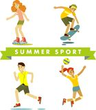 Set of summer sports and activities in flat style Royalty Free Stock Photos
