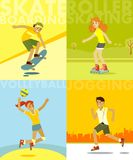 Set of summer sports and activities in flat style Royalty Free Stock Images