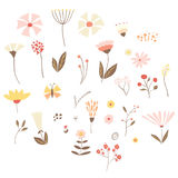 Set of summer/spring vector flowers, leaves and branches. Royalty Free Stock Photo