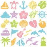 Summer icons. stamp set. stock illustration
