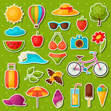 Set of summer stickers. Design for cards, covers, brochures and advertising booklets Royalty Free Stock Images