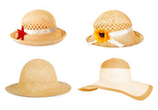 Set the summer straw hat isolated on background Royalty Free Stock Image