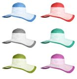 Set summer straw hats isolated Royalty Free Stock Images