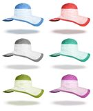 Set summer straw hats isolated Royalty Free Stock Photography