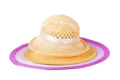 Set summer straw hats isolated Stock Photos
